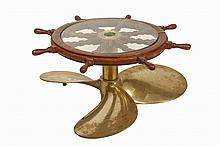 SHIP'S WHEEL & PROPELLOR COFFEE TABLE - Low Round Marine Accent Table made up from a large and very heavy three-blade bronze propellor and a mahogany ship's wheel, with a fitted tempered glass top, 18 1/2