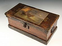 PAINTED SHIP'S CARPENTER TOOLBOX - 19th c. Box with oil painting of a fishing trawler at work on the lid, signed 'Weston Bean' lower left. Bean lived on Webster Street, Hanover, Mass, in the area known as 'Four Corne