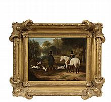 AMERICAN NAIVE ARTIST, CIRCA 1840 - Hunter and Servant with Horse, Entering Woodlands with Four Dogs, oil on canvas, unsigned, in the original ornate matched corner gold frame, OS: 23 1/2