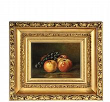 NAIVE STILL-LIFE PAINTING - A Study of Apples and Concord Grapes, oil on canvas, signed