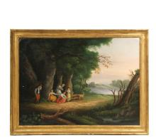 MONUMENTAL OIL ON CANVAS - American, circa 1835-45, an Idealized Genre Scene with children and animals in the wilderness, a typical vision of the time of the