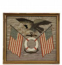 CHINESE NAUTICAL SILKWORK - Patriotic Imagery for American Sailors, circa 1880, featuring crossed US Flags behind an anchor and life ring (frame for your ship's photo), American Eagle above clutching laurel branch and..
