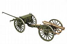 WORKING MODEL OF CIVIL WAR ARTILLERY PIECE WITH LIMBER - Bronze Field Cannon, believed to be a James 6 pounder, 9 1/2