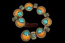 CONCHO BELT - Rare 13-Section Native American Engraved Sterling Silver Concho Belt, each concho set with polished spiny oyster shell, turquoise and black onyx, with brown leather strap; maker