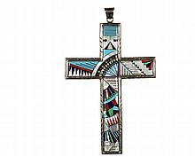 PENDANT - Rare and Large Zuni Native American Inlaid Sterling Silver Cruciform Pendant, elaborately designed with mixed stone and opal inlay, marked