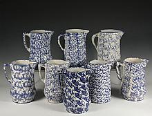 (8) BLUE SPONGEWEAR PITCHERS - 19th c