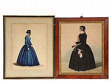 (2) 19TH C WATERCOLOR PORTRAITS - Full-Length Portraits of Women, circa 1840-50, including: Middle Aged Woman facing left, in black dress and bonnet with lavender trim, lace collar and bell sleeve trim, holding a book...