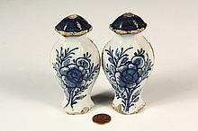 PAIR OF RARE MINIATURE DELFT POTTERY JARS - 18th c. Child Sized Faux Chinese Ginger Jars with attached lids (cast in one piece), blue and white floral glaze decoration, 4