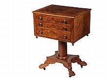 THREE-DRAWER FEDERAL STAND - Highly Figured Crotch Mahogany, circa 1810, with quartered top and cross-banded edge, three graduated drawers with convex faces, molded frame surround, pendants at corners, set on heavy pl...