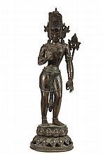 INDIAN COLONIAL BRONZE ALTAR FIGURE - 19th c. Cast Bronze Standing Hindu Boddhisatva, on a lotus plinth, 17 1/4