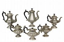 (6) PEWTER TEA OR COFFEEPOTS - Late 19th c. American, including: Octagonal Coffeepot by James Dixon & Sons, 13 1/2