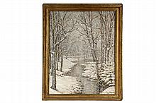 WILLIAM ERNEST CHAPMAN (NY, 1858-1947) - Snowy Woodland Stream, oil on canvas, signed lower right and dated 1936, in gold painted molded frame, OS: 32 1/4