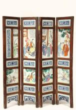 FOUR-FOLD CHINESE PORCELAIN MINIATURE SCREEN - 19th c. Screen comprised of (8) Famille Rose Mandarin Court Scene Plaques, each inscribed and signed, surrounded by (12) blue & white panels and one blue & white signatur...