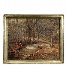 WILBUR CRANE (NY, 1875-1934) - Woodland Stream, oil on canvas, signed lower right, circa 1910, with remnant of the Salmagundi Club label verso, in the original hand carved gilt frame, OS: 28 1/2