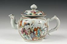 CHINESE EXPORT TEAPOT - Scarce Late 18th c. Oversized Mandarin Pattern Teapot, with court and domestic scenes inside thin orange frames, on gilt field, dragon form handle and spout, large knop on domed lid. 8
