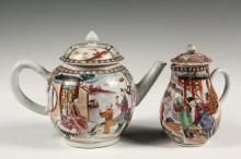 (2 PCS) CHINESE EXPORT - Late 18th c. Mandarin Teapot and Covered Creamer, with similar decoration, 6