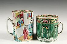 (2) CHINESE EXPORT PORCELAIN MUGS - Both 19th c