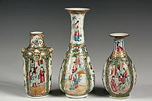 (3) CHINESE EXPORT PORCELAIN VASES - All 19th c