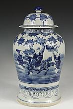 LARGE CHINESE COVERED JAR - Export Storage Jar, in Cantonese blue and white, featuring a horseback traveler with two attendants under a flowering tree, late 19th to early 20th c. 18
