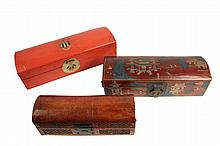 (3) CHINESE PIGSKIN BOXES - 19th c. Lacquered or Painted Pigskin Dome Top Scroll Boxes, with brass fixtures, including: Large Cinnabar colored, with raised Armorial crest, 5 1/2