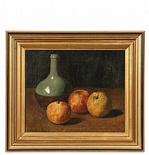 HORACE ROBBIN BURDICK (CT/MA, 1844-1942) - Still Life with Apples and Celadon Jug, signed lower left