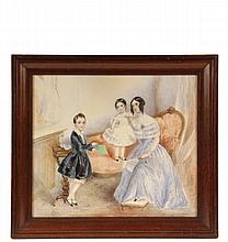 EARLY VICTORIAN FAMILY PORTRAIT - Mother with Daughter and Son, English, circa 1850, watercolor on paper, unsigned, in mahogany ogee frame, under glass, OS: 18 1/2
