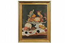 AMERICAN NAIVE ARTIST, CIRCA 1880 - Still Life of Mixed Fruit on a Cut Glass Compote and Dish, oil on artist's board with a Portland, Maine label, unsigned, in gold molded frame, OS: 26