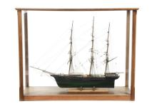 CASED SHIP MODEL - Three Mast Clipper Ship 'David Crockett', built in Mystic, Connecticut in 1853, shipwrecked Romer Shoal, NY Bay, Feb 1899, with black and green hull, fully rigged, no sails, with fine detail, roughl.