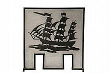 ARTS & CRAFTS FIRESCREEN - Strap Iron Screen Frame with applied sheet steel silhouette of a three-mast ship underway, in black paint, circa 1910's, 31 1/4