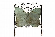 ARTS & CRAFTS FIRESCREEN - Wrought Iron Screen Frame with applied hand hammered copper butterfly, circa 1910's, 30