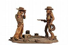 WESTERN FOLK ART CARVING - American Southwest Wood Carving of a Lawman Capturing an Outlaw, with some touches of color, 6 1/4