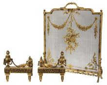 (3 PC) FRENCH FIREPLACE SET - Louis-Philippe Firescreen in gilt bronze, joined with similar style 20th c. replica Chenets, 31 1/2