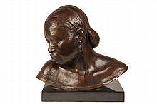 EDWIN GAMBLE (Brunswick, Maine, 1922-2006) - Bust of a Negro Woman, patinated cast bronze, signed