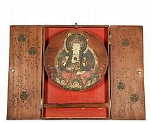 JAPANESE HOME SHRINE - 'Butsudan' Altar Shrine containing a 'Gohonzon' icon of Buddha on a painted wood disc, the case in pine with painted swastikas on the front, silvered copper chrysanthemum latch and plate hinges