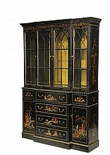 DISPLAY CABINET - 20th c. Two Part Black Lacquered Cabinet in an Asian theme, four door breakfront over six drawer two door base, glass and wood interior shelves, 79