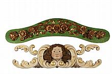 (2) ARCHITECTURAL CARVINGS - 19th c. Lintel Carvings, possibly from Circus Wagons, one having a polychrome portrait of a woman amid cream and gilt scrolllwork, 12