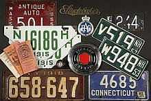 (30 PCS) MOTORING MEMORABILIA - Including (23) Vintage License Plates: Pair of NH 1915, MA 1915, MA 1916 (all enameled steel); PLUS NH 1918, MA 1923 & 1926, MA 1955, MA 1955 (antique auto), Pair MA 1966 (antique auto)...