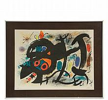 JOAN MIRO (Spain/France, 1893-1983) - Sculptures II Series, color lithograph, signed and numbered 18/150, circa 1969, in white metal box frame, matted and glazed, OS: 26 1/4
