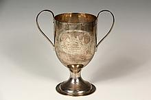 LOVING CUP - George III Period English Sterling Silver Engraved Trophy, hallmarked for London 1790 by silversmiths Samuel Godbehere & Edward Wigan, hand hammered with engraved cartouches - horse racing scene on one si...