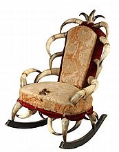 STEER HORN ROCKER - Circa 1880 Folk Art Rocker with steer horn frame, original brocade and mohair upholstery over horsehair padding, with unique three horn crown finial