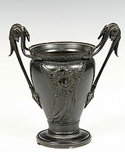 FRENCH BRONZE URN - Classical Revival Form Two-Handled Spills Urn, decorated with bas relief of two full-length angels, circa 1810, 6 3/4