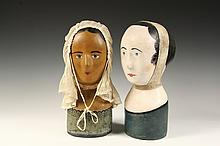 (2) 19TH C FRENCH MILLINER'S HEADS - French Mannequin/Milliner's Heads, or Marottes, circa 1850, one marked