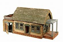 FOLK ART DOLL HOUSE - American Arts & Crafts Era Primitive Doll House, in painted and textured wood, with paper shingled gabled roof, operational doors, back portico over an attached garage, front trellis over faux br...