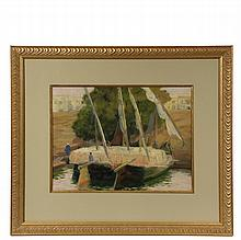 TABER SEARS (NY, 1870-1950) - Dahabeah on the Nile, watercolor/gouache on illustration board, signed lower left, in gold frame with gold lined mat, under glass, OS: 22 1/2