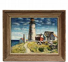 SAMUEL BRECHER (Born in Austria, active NY, 1897-1982) - 'Pemaquid Lighthouse E Boothbay, ME', oil on canvas, signed lr 'S