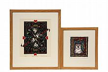 HOLLY BERRY (Contemporary Biddeford, ME) - Two Linoleum Block Prints: