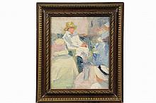 UNIDENTIFIED ARTIST - Women in Summer Dresses, Seated in a Crowd, an impasto study, oil on canvas, unsigned, circa 1910, in gold highlighted carved walnut frame, OS: 21 1/2