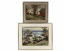 ARTHUR LORENTZ LINGQUIST (MA/CT, 1889-1975) - Two Paintings, including: Cape Cod, oil on canvasboard, signed lower right, in cream painted panel frame with silver molded edges, OS: 17