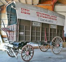 HEAVY DUTY MOVING WAGON - Made for J.J. Heil, Heil Windermere Moving Storage 1892, Cleveland. High framed with canvas over wood canopy, 18 spoke rear and 16 spoke front wheels, heavy reinforced sides with drop tailgat...