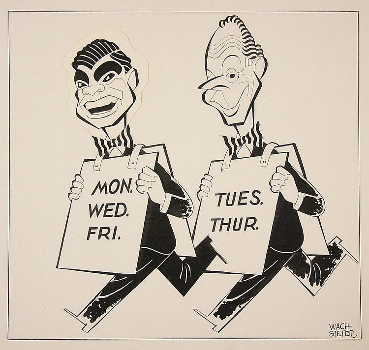 CARICATURE - George Wachsteter (1911-2004) Ink on Illustration Board Caricatures of Bert Parks & Dan Seymour, hosts of TV programs 'Double or Nothing' and 'I Go Everywhere', 10 1/2